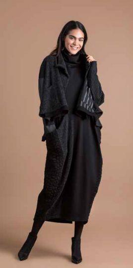 Alembika Black/Grey High Low One Button Closure Jacket AJ319B