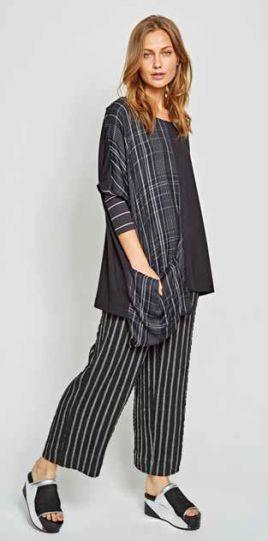 Alembika Black/Grey Striped Pull On Pant P912S