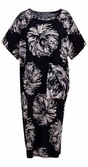 Alembika Black Dahlia Print Straight Dress SD639B