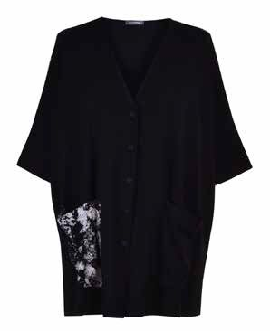 Alembika Black Button Print Pocket Cardigan SJ508B