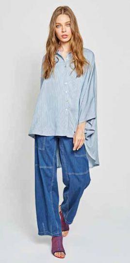 Alembika Azure Striped Blue/White Shirt Poncho T608A