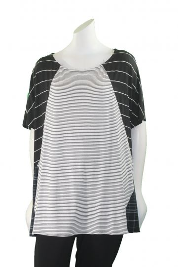 Alembika Black/White Striped High Low Pullover Top T633S