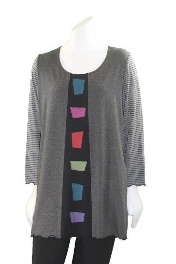 Sondra Sardis Charcoal/Multi Applique Tunic