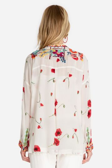 Biya/Johnny Was Multi Floral Bracciana Silk Blouse B18120D2