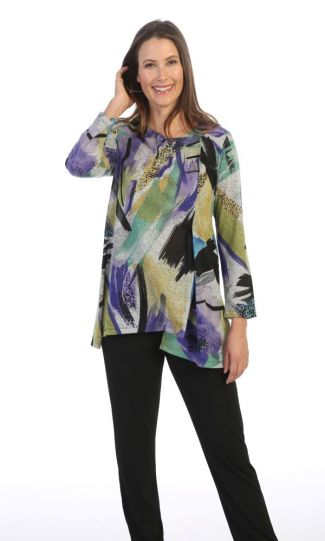 Jess & Jane Plus Size Multi Savannah Printed Uneven Tunic B2-1513X