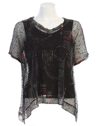 Jess & Jane Plus Size Black Sheer Sonorous Tunic BC1-1472X