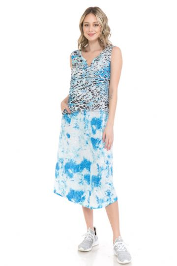 Cubism Plus Size Blue Slit Neck Tank Crinkle Dress 104-16403X