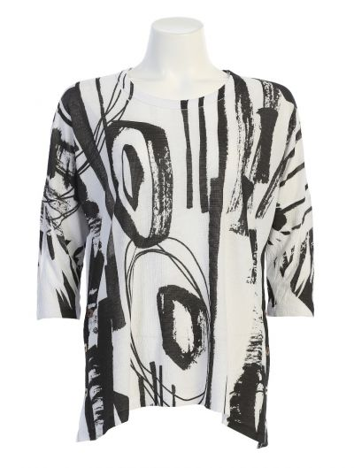 Jess & Jane Plus Size White/Black Contempo Tunic BU1-1495X
