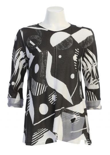 Jess & Jane Plus Size Black/White Geonelle Bulgari Tunic BU2-1484X