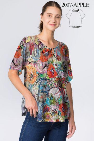 Et' Lois Plus Size Multi Apple Short Sleeve Top C2007-C04