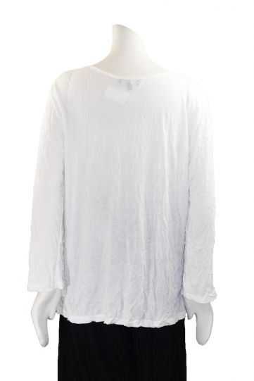 Comfy Plus Size White Basic Crinkle Top C134