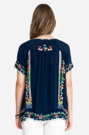 Johnny Was Blue Sky Ladys Embroidered Top C16320-4
