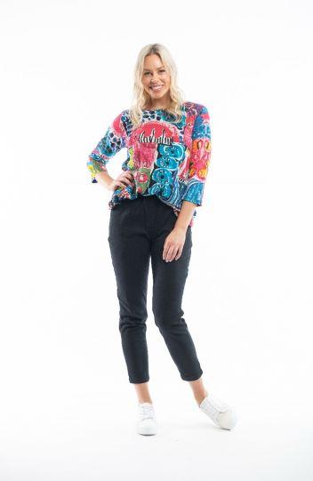 Orientique Plus Size Multi Printed Pullover Tee 62503