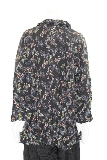 Comfy Plus Size Black Multi Floral Mindy Crushed Shirt CD140