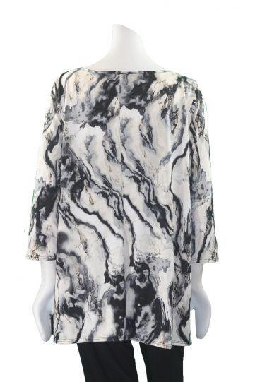 Channa Black/Cream Plus Size Pullover Style Tunic CHT-1575