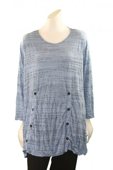 Comfy Plus Size Sofia Print Crinkle Button Pullover Top WC605