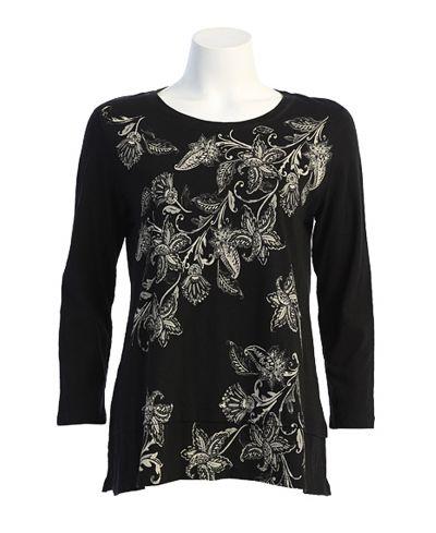 Jess & Jane Plus Size Black Lily bell Cotton Tunic CS6-1634X