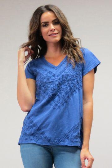 Caite Plus Size Ladys Purple V-Neckline Embroidery Tunic CTCO417