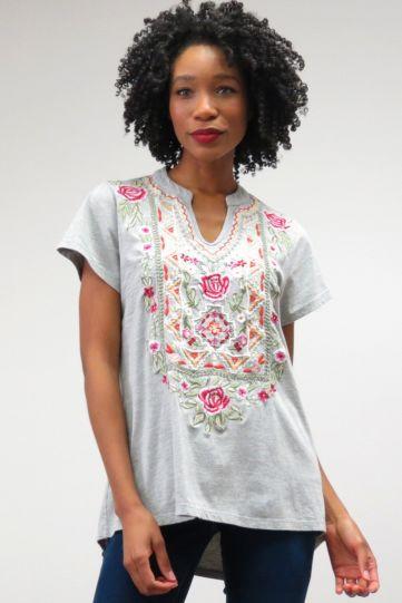 Caite Plus Size Ladys Grey Floral Embroidery V-Neckline Tunic CTCO419
