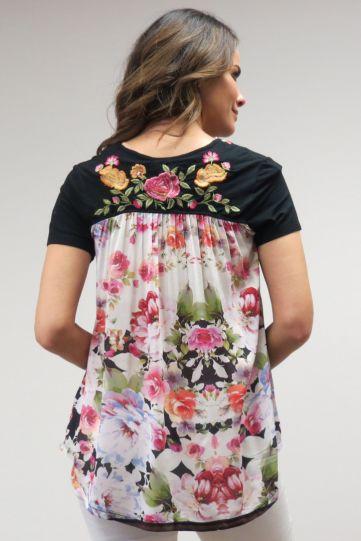Caite Plus Size Ladys Black Back Floral Tunic CTCO452