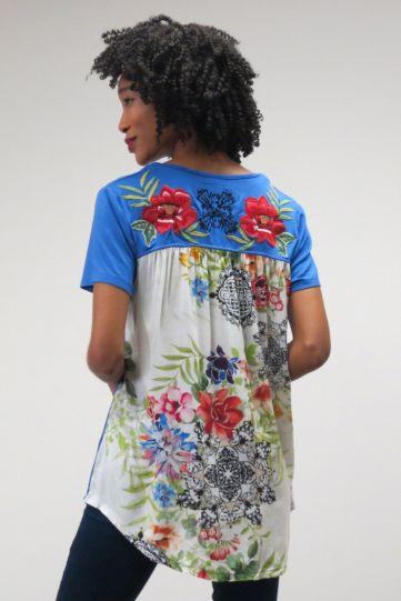 Caite Plus Size Ladys Blue Floral Back Tunic CTCO453