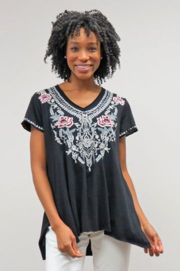 Caite Plus Size Black Embroidered Shirt CTC0609