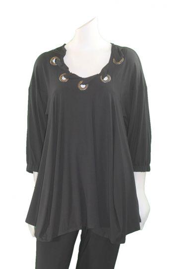 Ela Plus Size Black Grommet Neckline Top E192