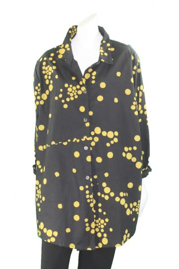 Adverb Plus Size Black/Mustard Polka Dot Cotton Shirt Enough