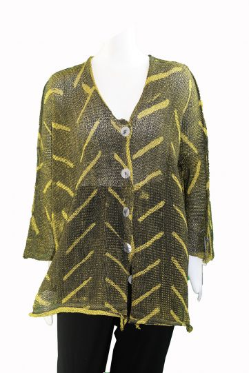 Skif Mustard/Olive Green Cut Sweater Fast Sweater