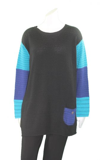 Margaret Winters Plus Size Black/Blue Reversible Sweater FM784MM