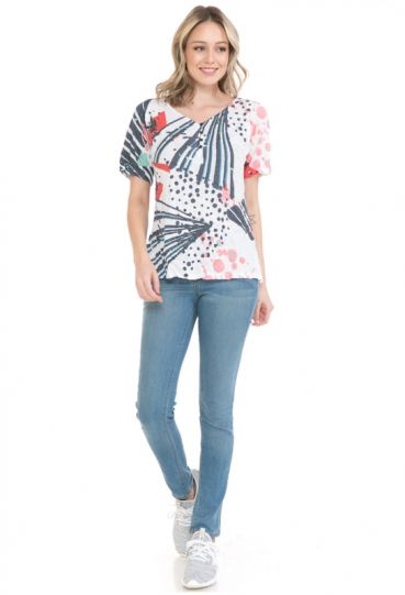 Cubism Plus Size Multi Henley Short Sleeve Crinkle Top 153-13292X