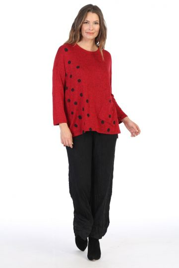 Jess & Jane Plus Size Red Coco Dots Print Brushed Top GB1-1322X