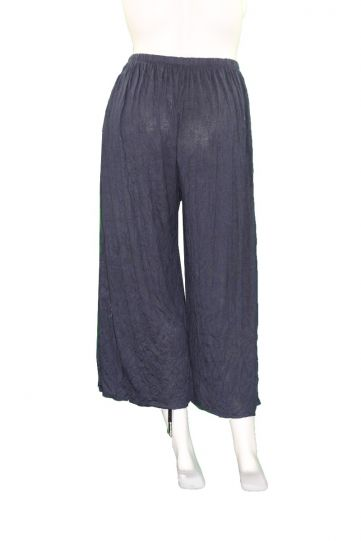 Comfy Plus Size Navy Crinkle Wide Leg Crop Pant WC238