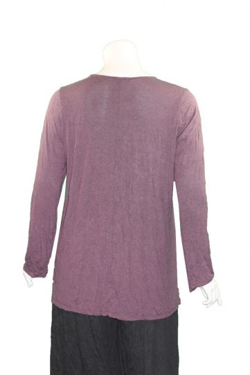 Comfy Plus Size Plum Crinkle Relaxed Basic Tee C645