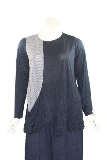 Comfy Plus Size Navy/Stripe Crinkle Heather Top C646