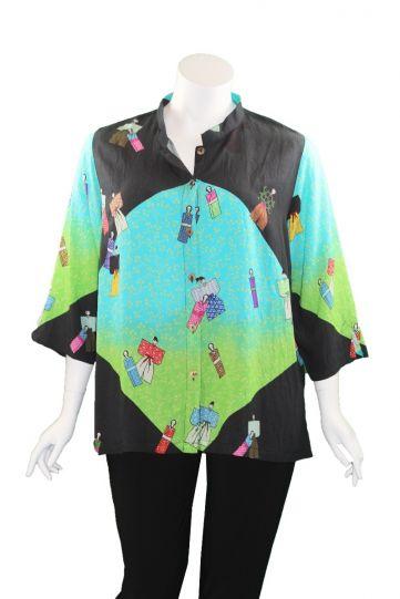 Citron Plus Size Black/Multi Printed Geisha Inspired Shirt 1213KDP