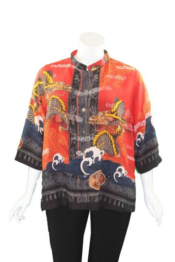 Citron Plus Size Red/Black Dragon Waves Shirt 1213PNB