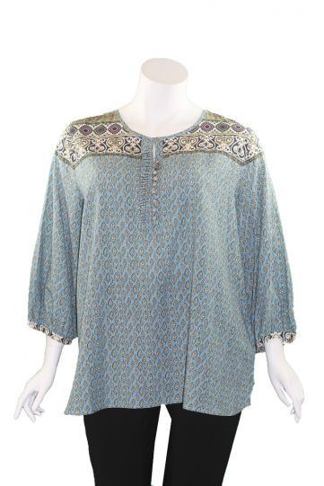 Multiples Plus Size Printed 3/4 Sleeve Multi Button Detail Top M39502TW
