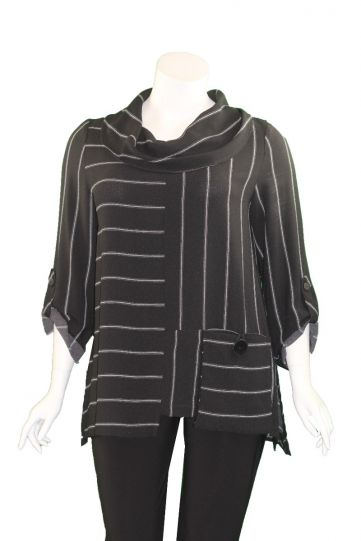 Moonlight Black/Grey Cowl Neckline Tunic 2090