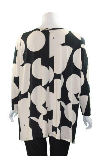 Q'Neel Black/Cream Large Dot One Pocket Tunic 83156-8481