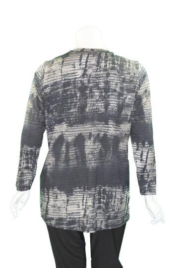 Q'Neel Plus Size Multi Printed Grey/Black Tunic 83072-8471
