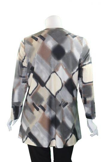 Q'Neel Plus Size Tan/Grey Aline Body Tunic 83091-8473