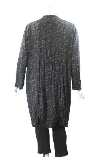 Chalet Plus Size Black/Grey Polka Dot Long Button Jacket XCM85528