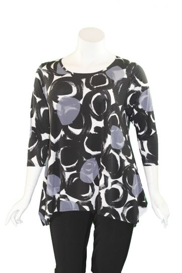 Niche Plus Size Black/White/Grey Circles Top 72040