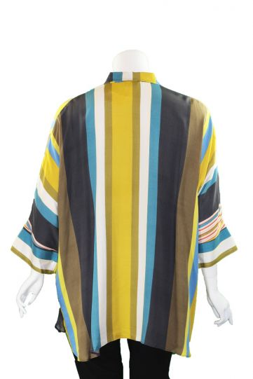 Q'Neel Plus Size Multi Striped Button Blouse 86917-8460