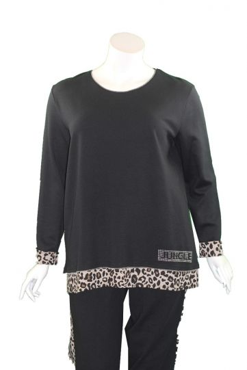 Doris Streich Plus Size Black/Leopard Pullover Sweatshirt 265-142-99