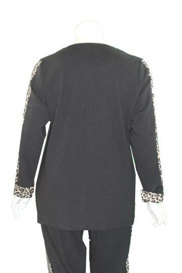 Doris Streich Plus Size Black/Leopard Zipper Sweatshirt 137-142-99