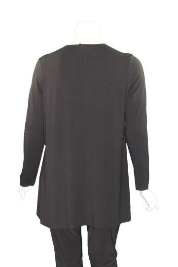 Doris Streich Plus Size Black Silver Ring Zipper Tunic 497-270