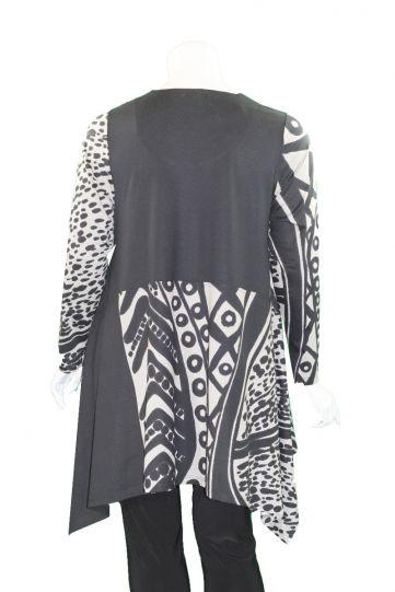 Ralston Black/Grey Printed Long Pullover Tunic 71024