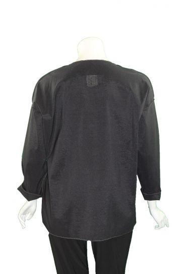 Xiao Black Plus Size Button Front Junko Shirt 8106
